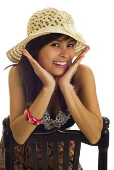 Asian Woman With Straw Hat Stock Photo