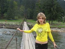 Free Beautiful Girl On A Bridge Stock Image - 9367951