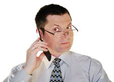 Free Man In Glasses With A Cell Phone Stock Images - 9368054