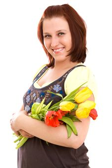 Free Woman With Flowers Stock Images - 9368334