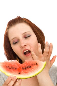 Free Woman Eating Water Melon Royalty Free Stock Photography - 9368397