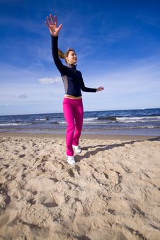 Free Active Woman On The Beach Stock Image - 9368681