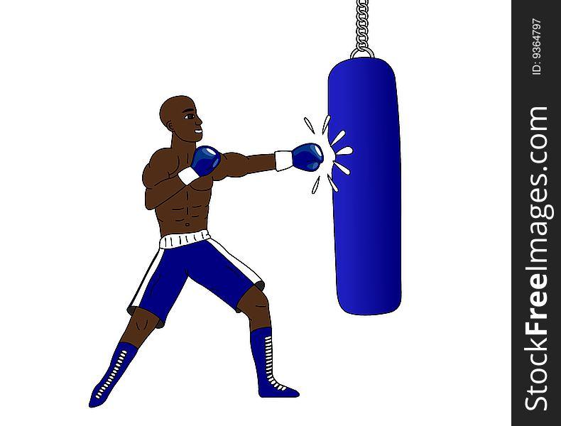Boxer and punching bag
