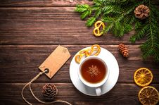 Free Christmas Still Life With Tea Stock Image - 93617521