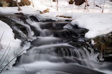 Free Blur Of Stream With Snowy Banks Royalty Free Stock Image - 93617556