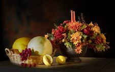 Free Autumn Floral And Fruit Arrangement Royalty Free Stock Photos - 93682628