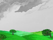 Painted Style Countryside Rainy Day Version Stock Photo