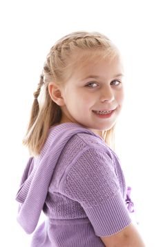 Free Cute Little Girl Wearing A Purple Sweater Royalty Free Stock Photo - 9370345