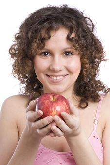 Free Woman With Apple Royalty Free Stock Image - 9373136