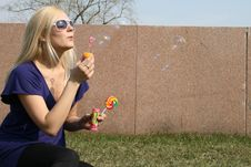 Free Funny Girl Blowing Soap Bubbles Stock Photo - 9373260