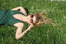 Free Girl Lying On Grass Royalty Free Stock Photo - 9373585