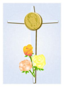 Cross With Roses And Christ Royalty Free Stock Image