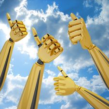 Free Hands With Thumb Up Royalty Free Stock Images - 9374109