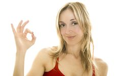 Free Woman Making  OK  Hand Gesture Stock Photography - 9374482