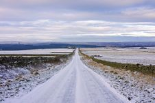 Moorland Road In Winter Royalty Free Stock Images