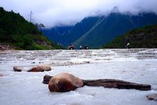 Free Yulong Snow Mountain-tourists Royalty Free Stock Photography - 9375557