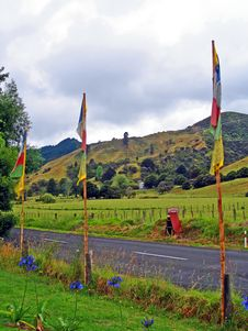 Free Prayer Flags At The Mahamudra Buddhist Retreat, NZ Royalty Free Stock Images - 9375729