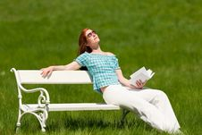 Free Summer - Young Woman On White Bench Stock Photo - 9376590