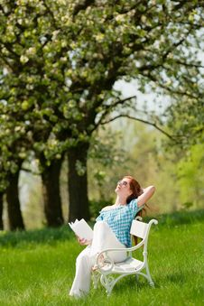 Free Summer - Woman Relax Under Blossom Tree Stock Photography - 9376602