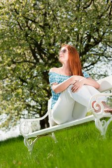 Free Woman Relax Under Blossom Tree In Summer Stock Photography - 9376672