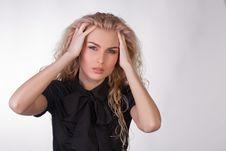 Girl In Black Blouse Having A Headache Royalty Free Stock Photo