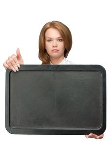 Free Woman Showing Black Board Royalty Free Stock Photos - 9377568