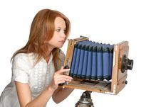 Free Woman Shooting Photos With Vintage Camera Royalty Free Stock Photography - 9377627