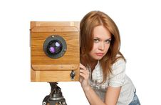 Free Woman Posing With Vintage Camera Royalty Free Stock Photography - 9377637