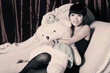 Free Asian Girl Watching TV Royalty Free Stock Image - 9378196