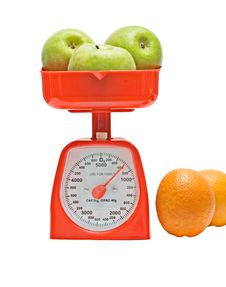 Free Kitchen Scale Weighting Apples Royalty Free Stock Images - 9378579
