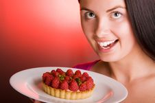 Free Young Beautiful Woman With Raspberry Cake Stock Image - 9378581