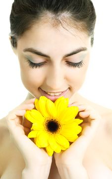 Free Pretty Girl With A Flower Royalty Free Stock Image - 9379376