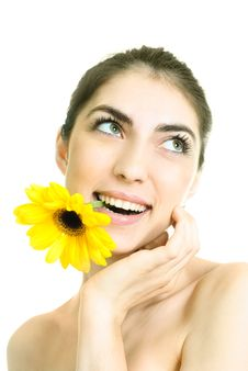 Free Pretty Girl With A Flower Royalty Free Stock Image - 9379426