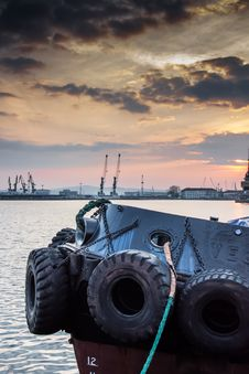 Free Tires On Ship In Harbor Stock Photos - 93732093
