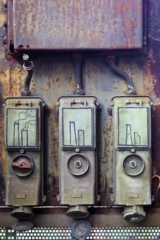 Free Smokestacks Illustrated On Metal Boxes Stock Images - 93732104