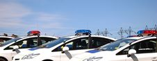 Free Police Cars With Sirens Red And Blue Color Stock Images - 93739644