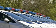 Free Police Cars With Sirens Red And Blue Color Royalty Free Stock Image - 93741156