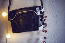 Free Leather Camera Case On Wall Royalty Free Stock Photos - 93797858