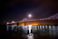 Free Oakland Bay Bridge At Night Royalty Free Stock Photography - 93797907