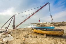 Free Fishing Boats Moored On Beach Stock Image - 93797921