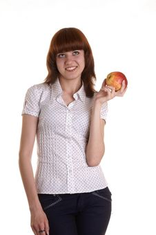 Free The Girl With An Apple Stock Photo - 9381950