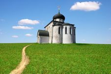 Free Church On Green A Meadow Stock Photo - 9384720