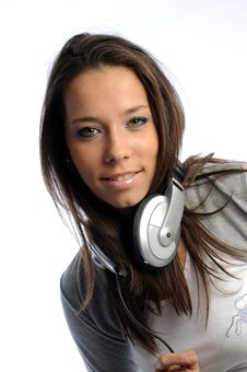 Free Girl With Headphones Royalty Free Stock Images - 9385009