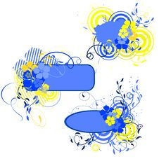 Free Blue And Yellow Banner With Flowers Stock Images - 9385744