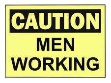 Free Caution Men Working Sign Stock Photo - 9386710