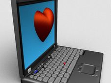 Free Heart On Laptop Stock Images - 9388244