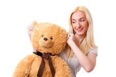 Free Girl With Teddy Bear Royalty Free Stock Image - 9389046