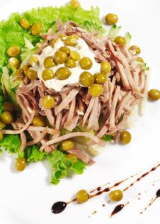 Green Peas And Meat Salad Royalty Free Stock Photography