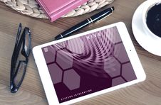 Free Tablet Coffee Pen And Glasses Stock Images - 93866944