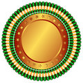 Free Big Bronze Medal With Stars And Green Ribbons Royalty Free Stock Photography - 9390207